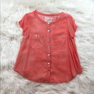 We the Free Cherry Red Sheer Botton Down Blouse